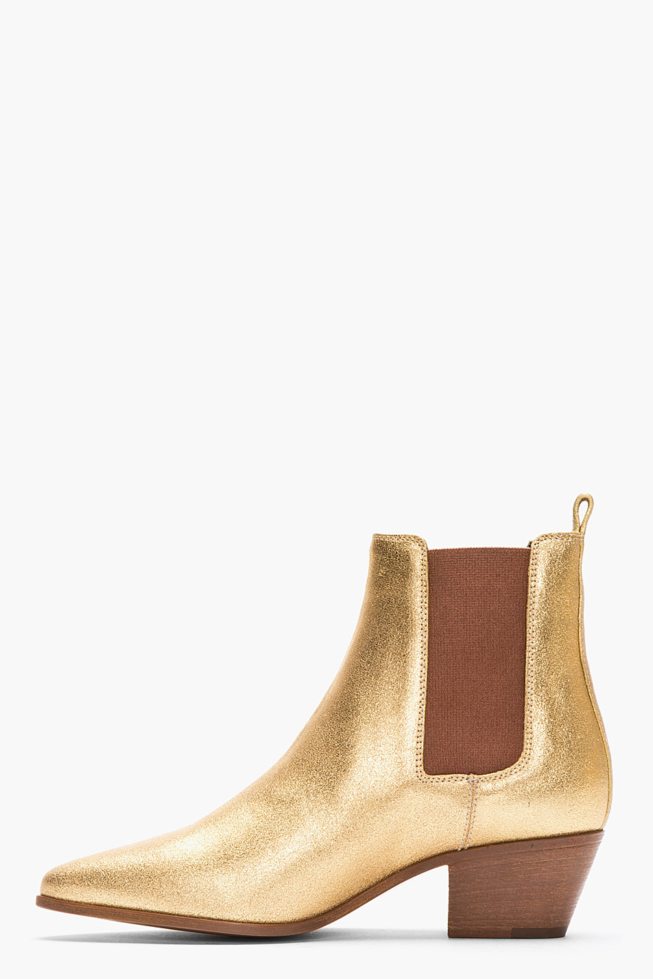 Lyst - Saint Laurent Metallic Gold Leather Chelsea Ankle Boots in Metallic 4c7033be3932