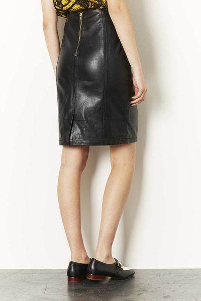 topshop leather panel pencil skirt in black lyst