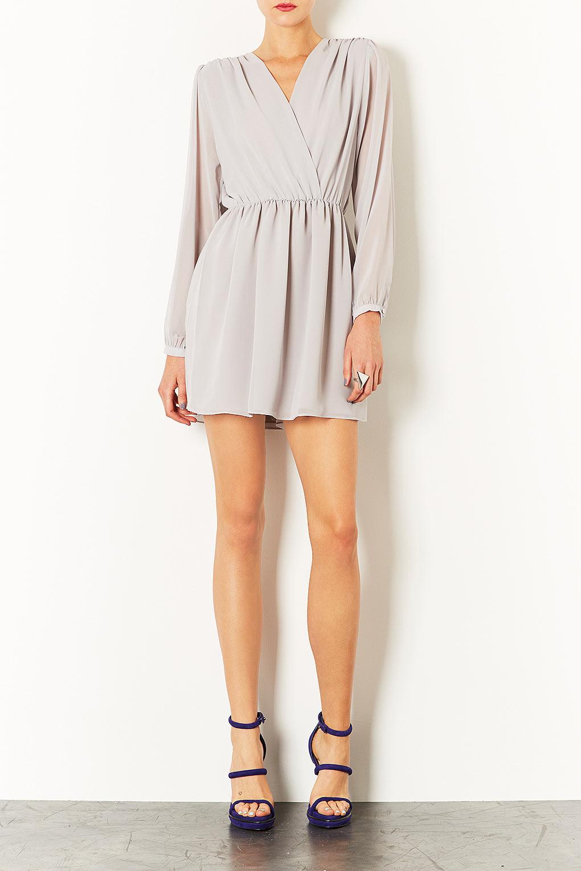 Lyst Topshop Long Sleeve Chiffon Wrap Dress In Gray