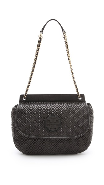 Lyst Tory Burch Marion Saddle Bag In Black
