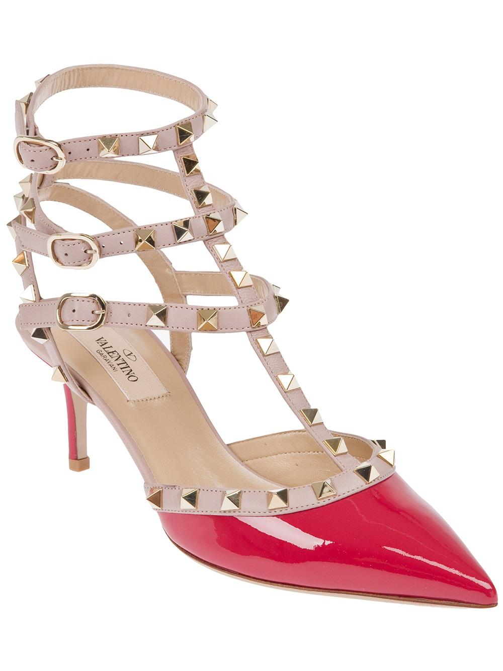 c046aa5ef87 Lyst - Valentino Valentino Rockstud Ankle Strap Pump in Pink
