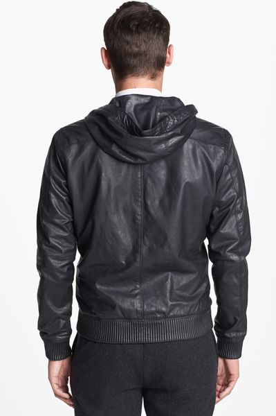 Vince Hooded Leather Bomber Jacket In Black For Men Lyst