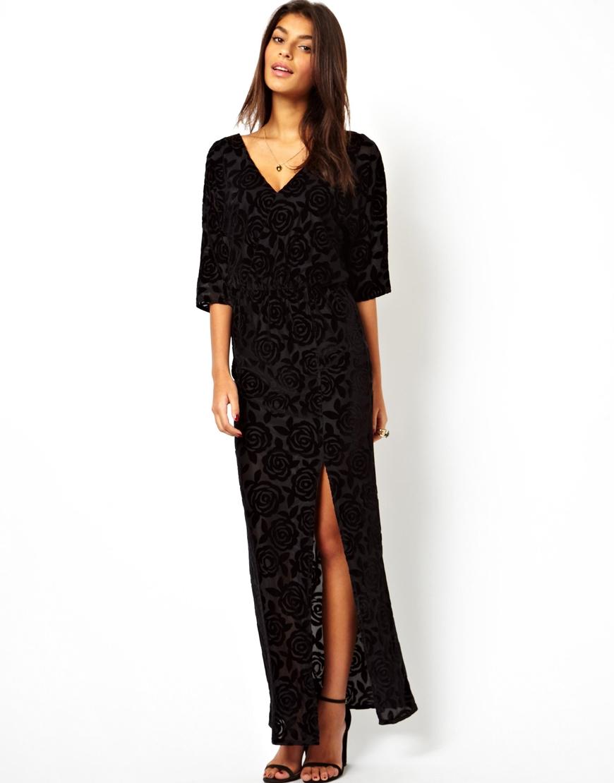 Lyst Asos Devore Kimono Maxi Dress In Black