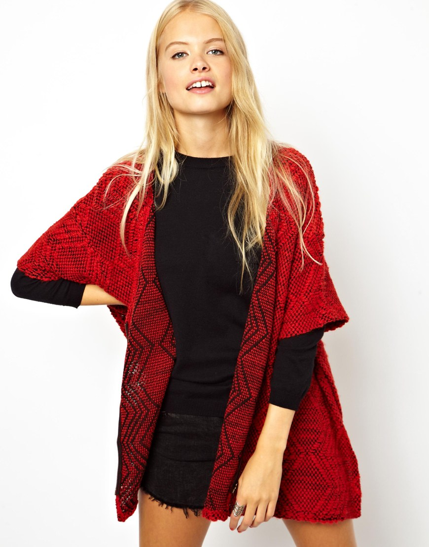 Asos Kimono Cardigan In Textured Fabric With Zip in Red | Lyst
