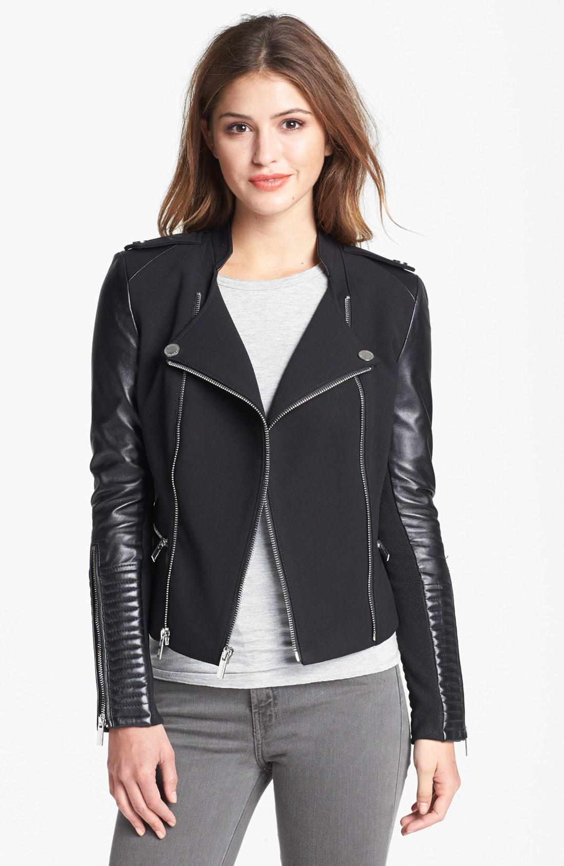 Bcbgmaxazria Asymmetrical Ponte Leather Moto Jacket in Black | Lyst