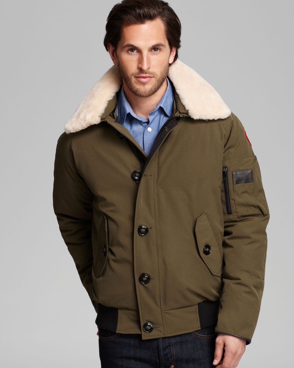canada goose foxe bomber jacket with shearling collar in green for men lyst. Black Bedroom Furniture Sets. Home Design Ideas
