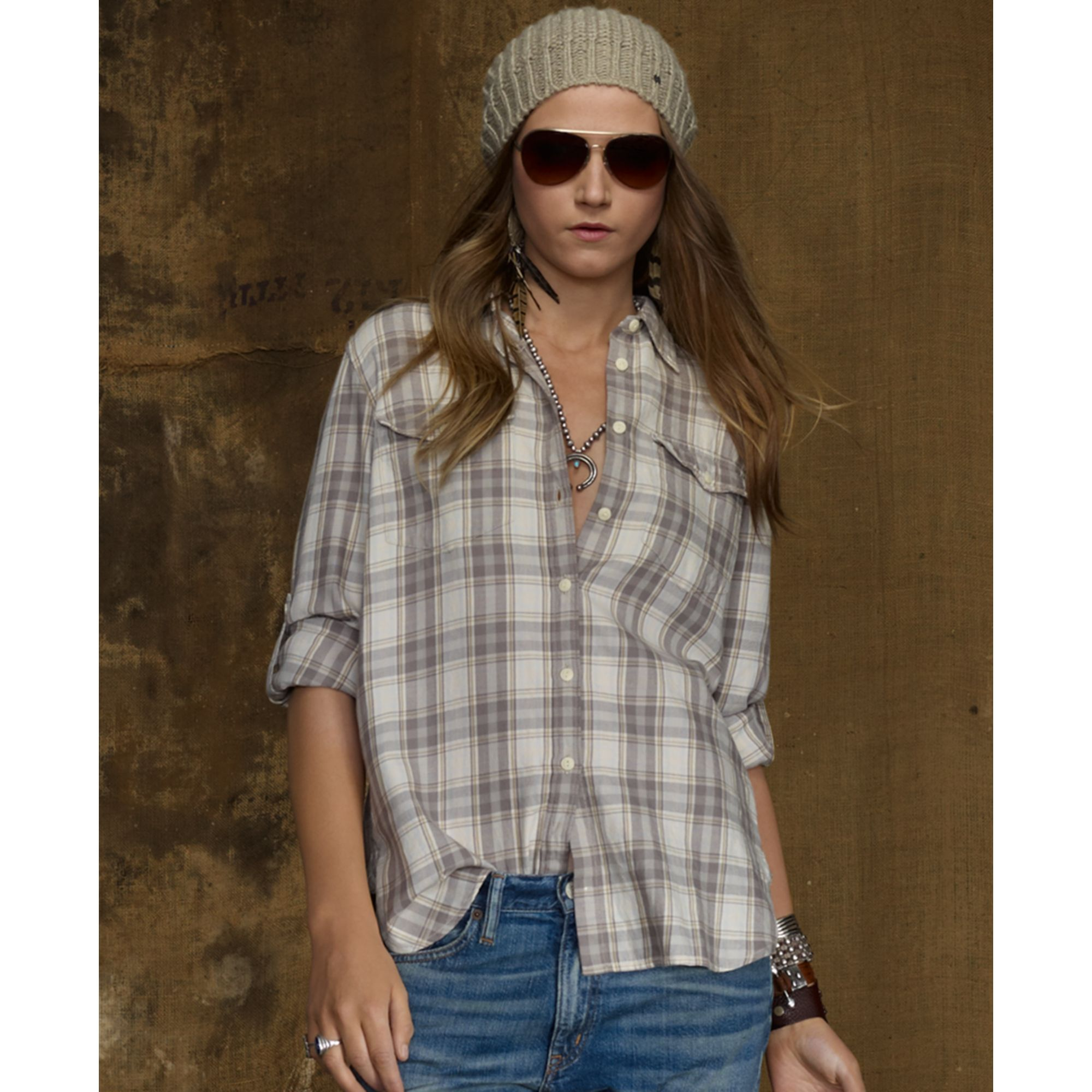 denim supply ralph lauren longsleeve flannel shirt in