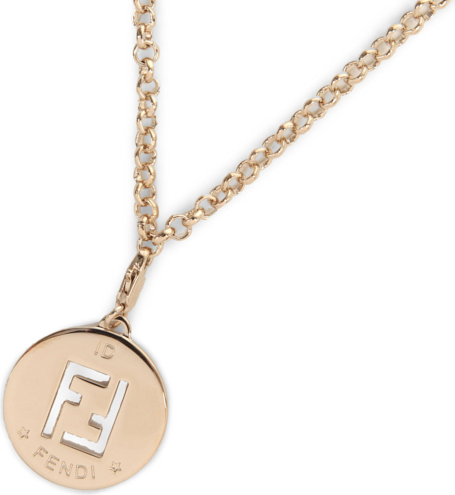 Lyst fendi fendi logo necklace in metallic gallery mozeypictures Images