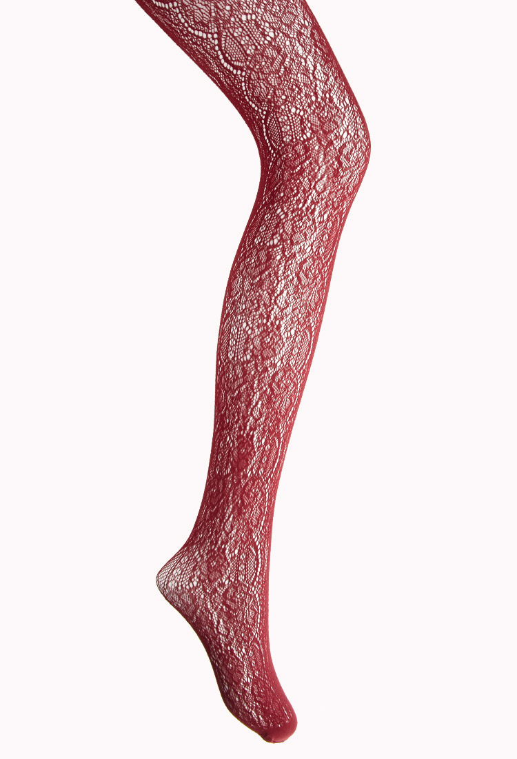 7ee8e5b42bd Forever 21 Baroque-Inspired Fishnet Tights in Purple - Lyst