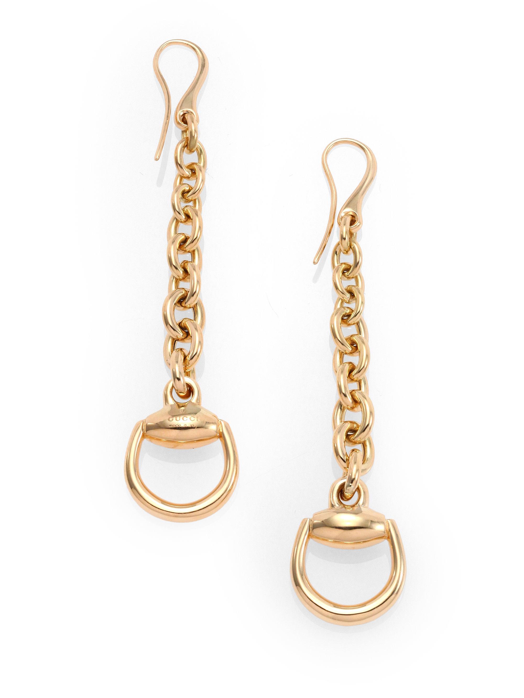 7056a08daf7 Lyst Gucci Horsebit 18k Yellow Gold Drop Earrings In Metallic