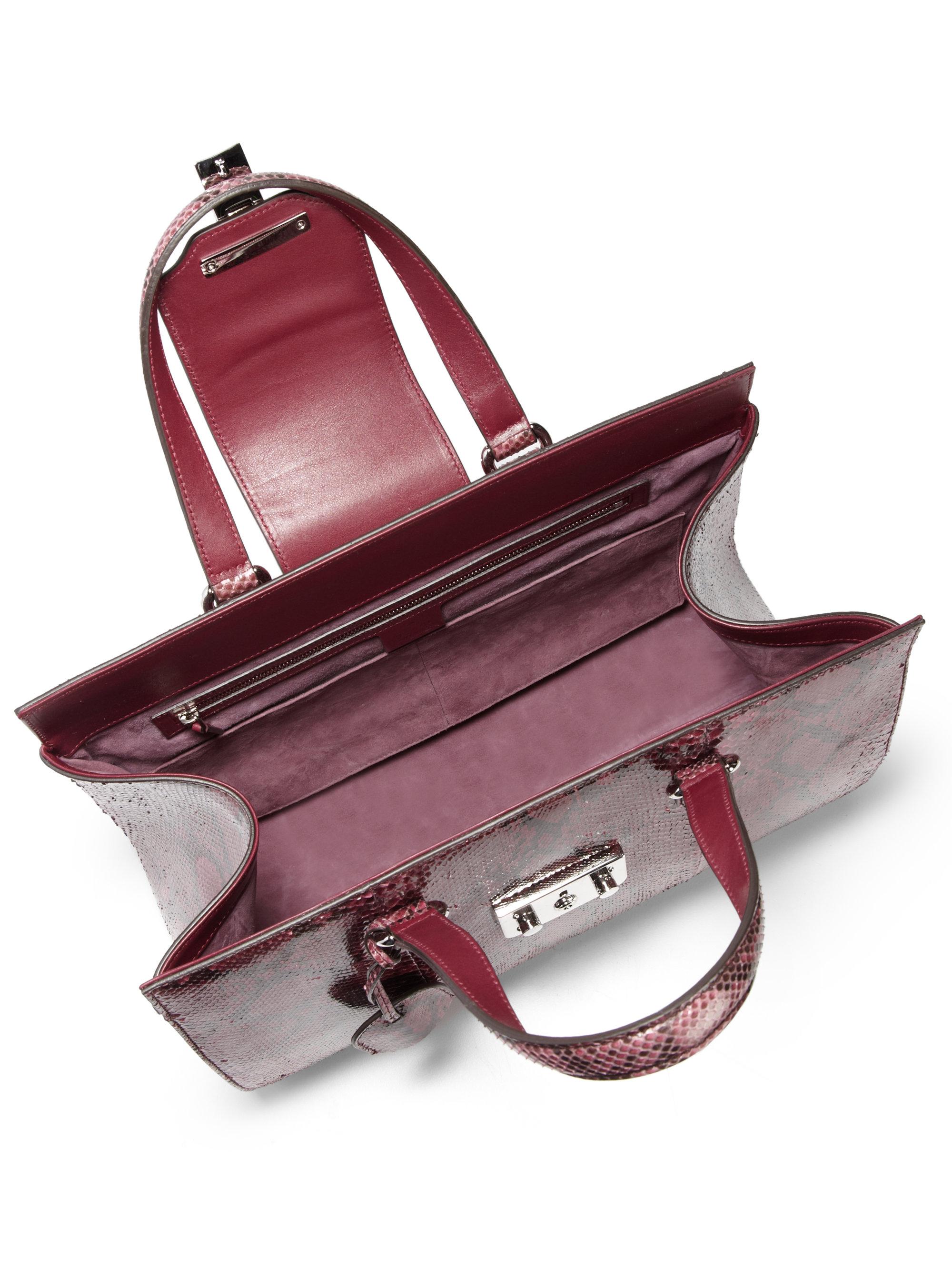 8f5b8875134 Lyst - Gucci Lady Lock Python Tote in Purple