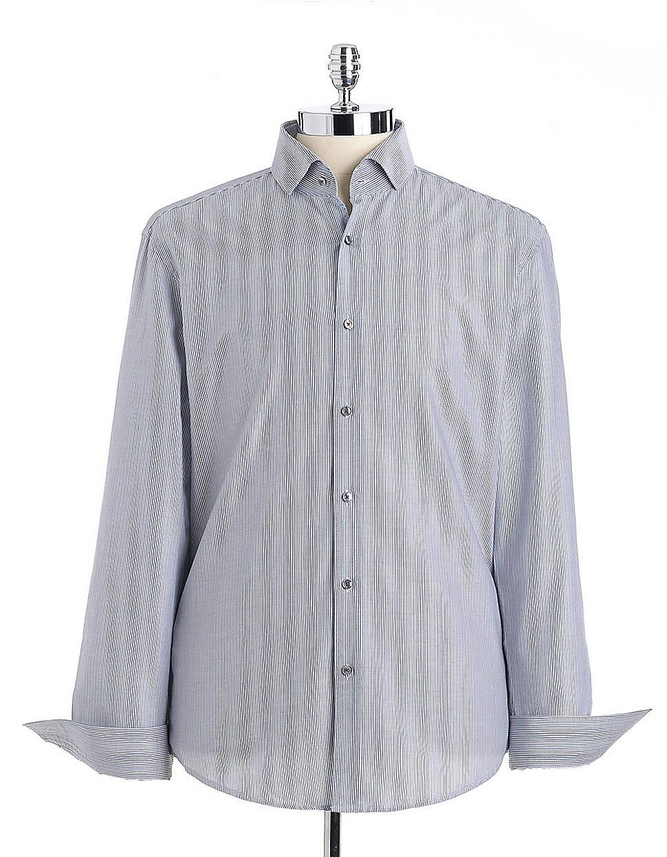 Hugo boss striped cotton button down shirt in blue for men for Hugo boss dress shirt review