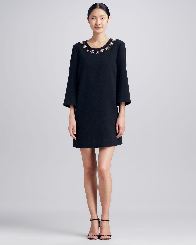Kate spade lucy embellishedneck dress in black lyst