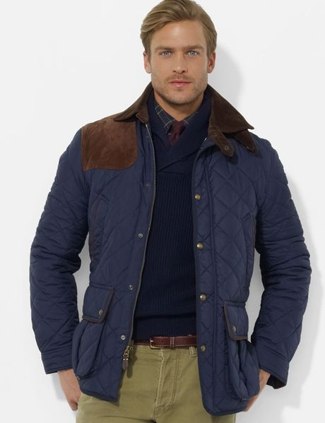 Ralph Lauren Polo Brooks Quilted Car Coat In Blue For Men