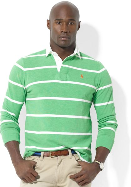 Ralph lauren long sleeve stripe rugby shirt in green for for Long sleeve striped rugby shirt