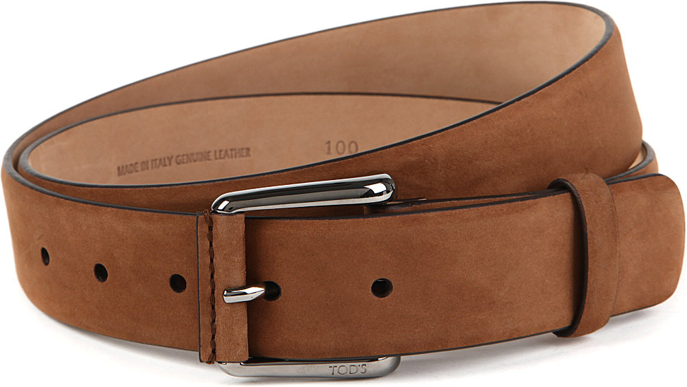 tod s tods plain suede belt in brown for lyst