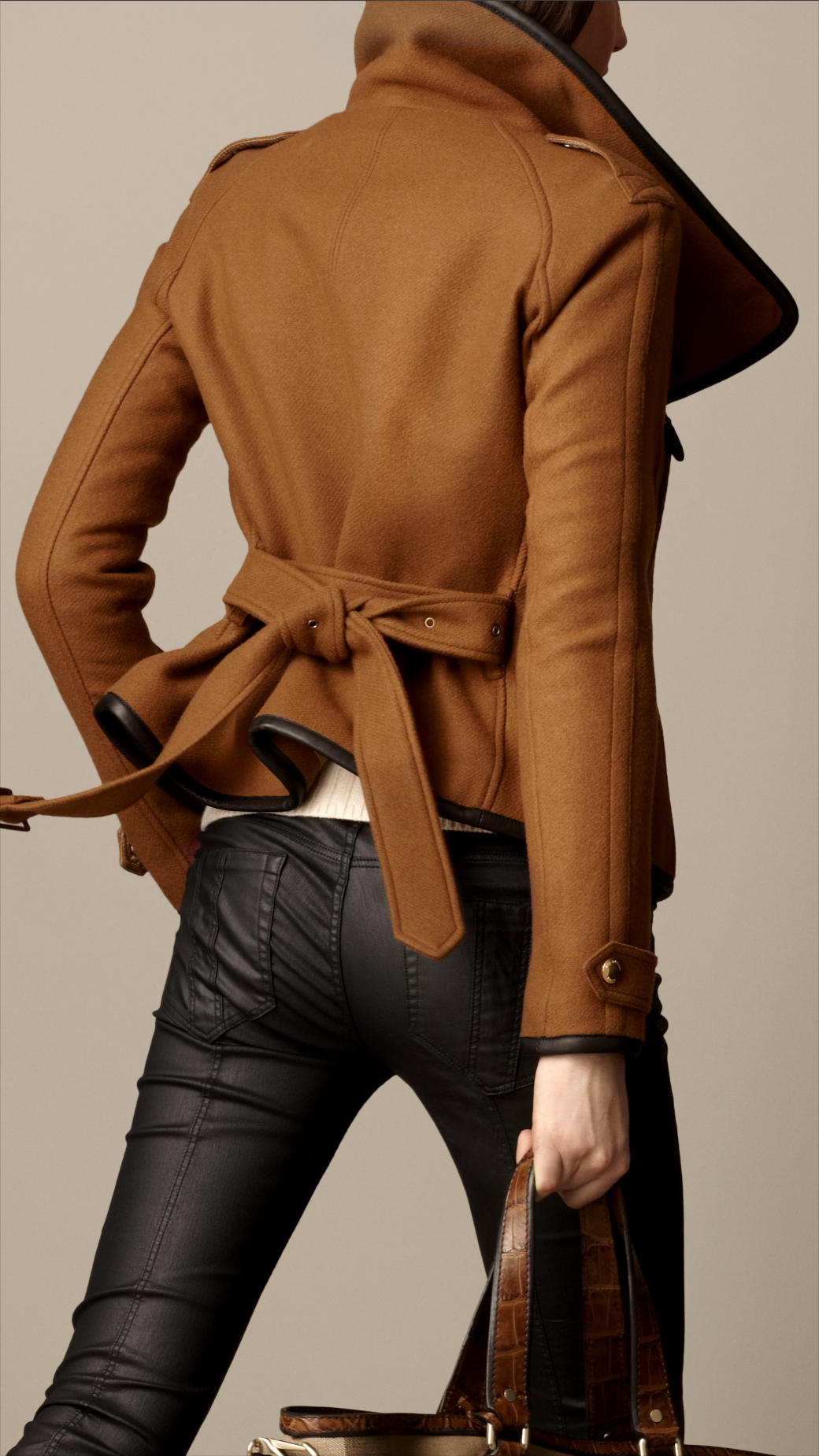 Lyst - Burberry Leather Trim Blanket Wrap Jacket in Brown : burberry quilted check trim coat - Adamdwight.com