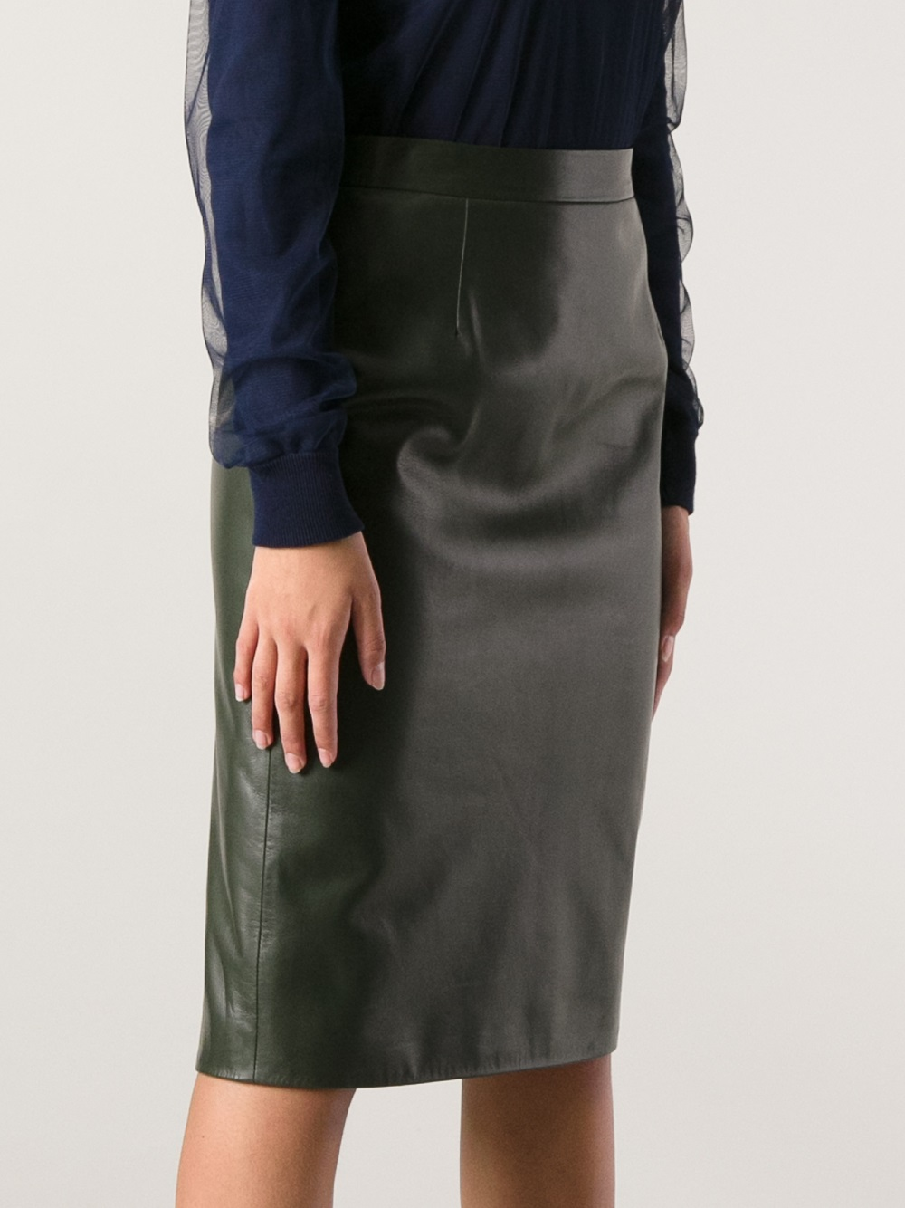 Gucci Gucci Leather Pencil Skirt in Green | Lyst