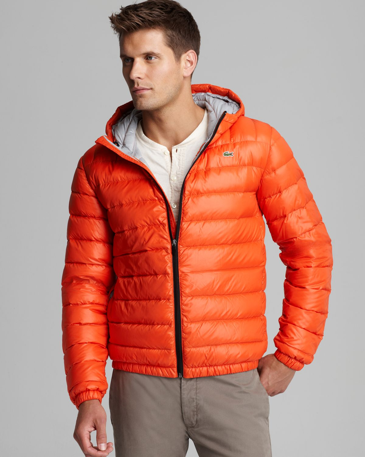 Lacoste Featherweight Packable Down Jacket In Orange For