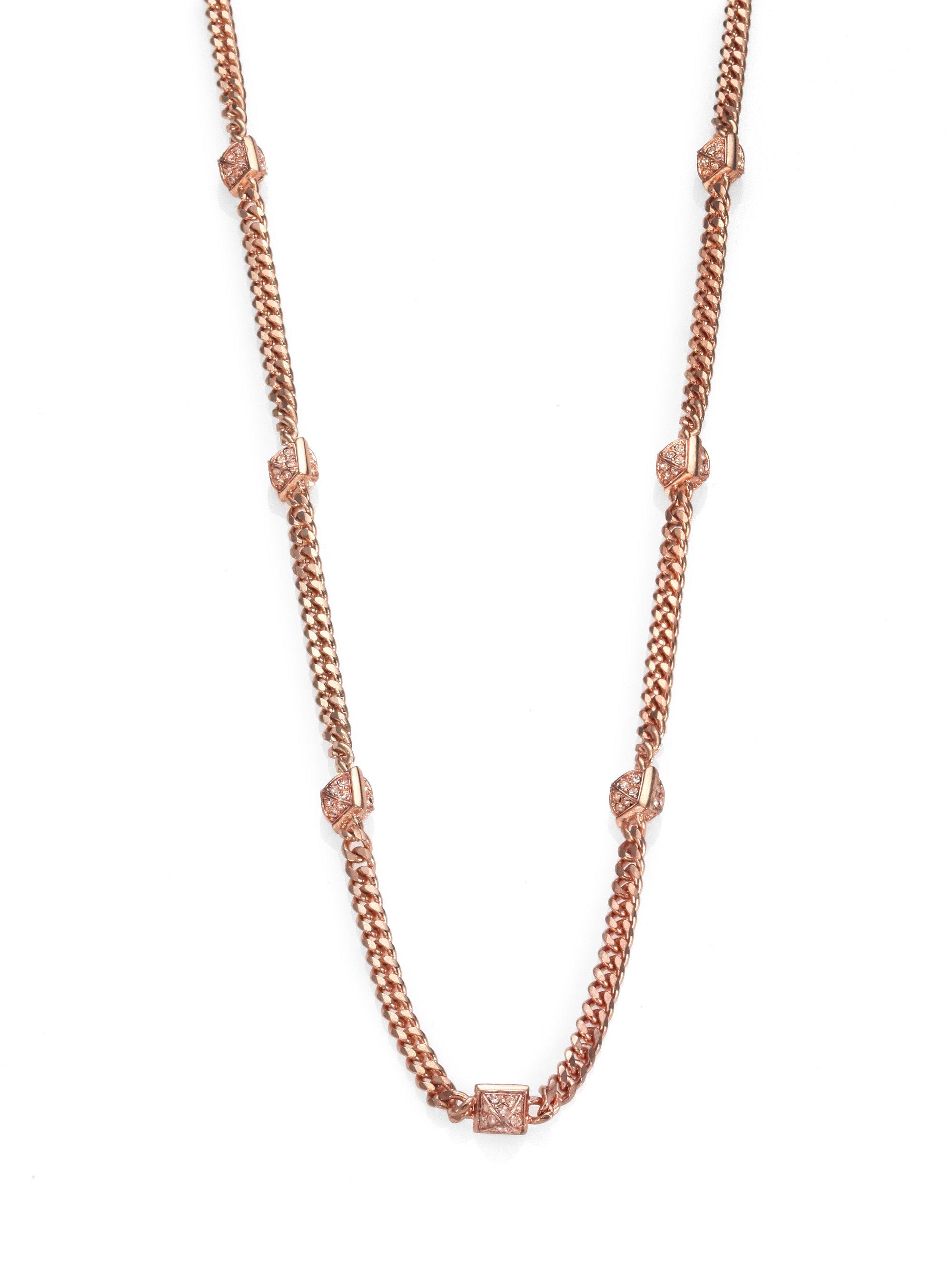 michael kors stud station necklace in gold rose gold lyst. Black Bedroom Furniture Sets. Home Design Ideas