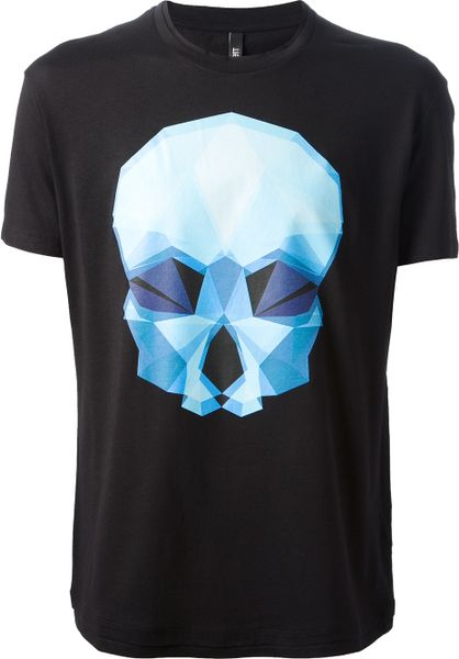 Neil Barrett Geometric Skull Tshirt in Black for Men | Lyst