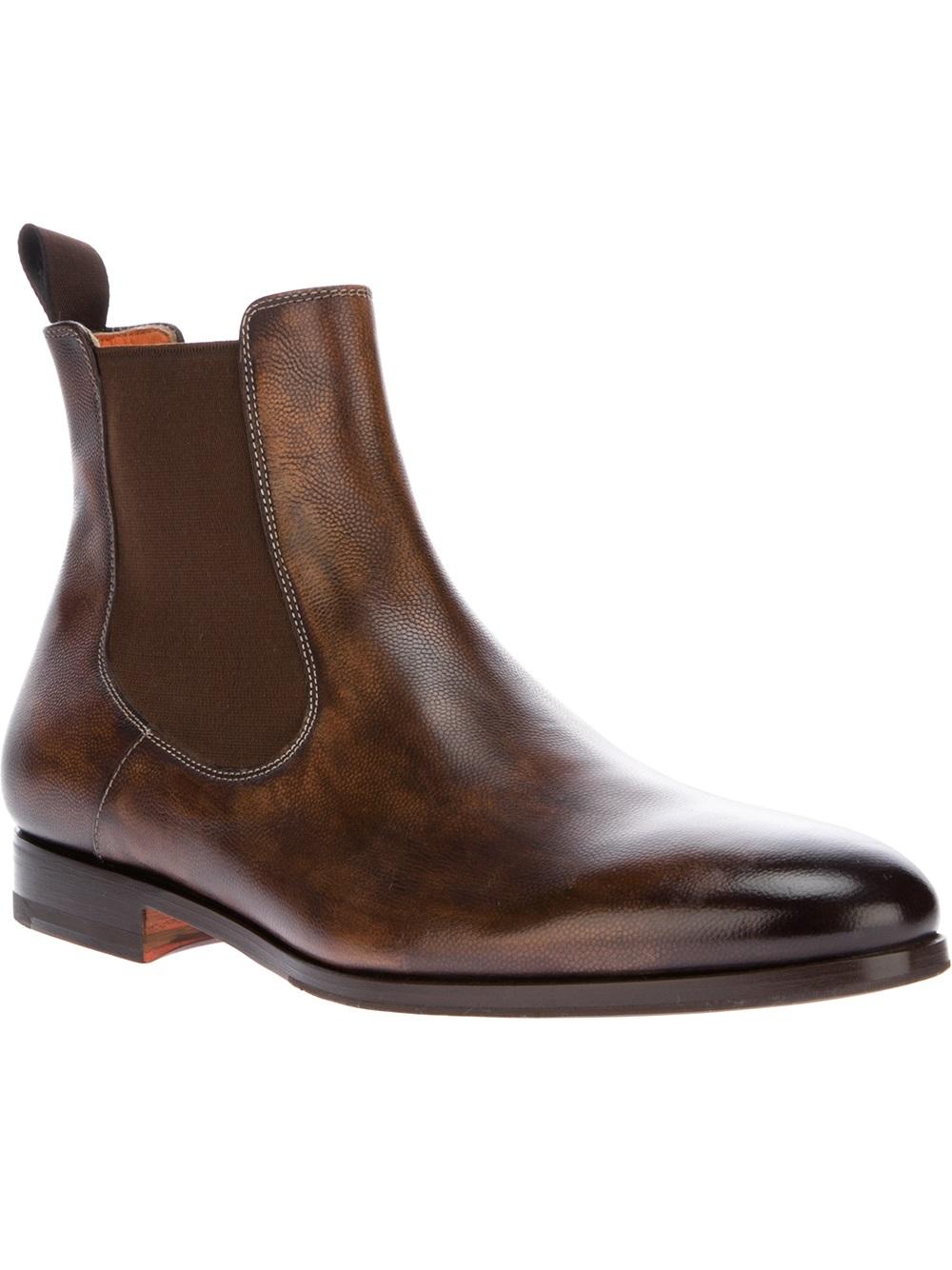 santoni chelsea boot in brown for men lyst. Black Bedroom Furniture Sets. Home Design Ideas