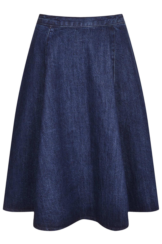 Topshop Moto Denim Midi Skirt in Blue | Lyst