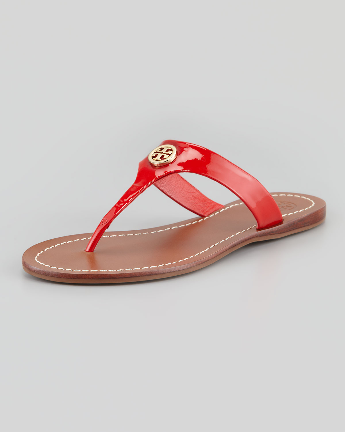 021e5cf6a70cb7 Lyst - Tory Burch Cameron Patent Logo Thong Sandal Red in Red
