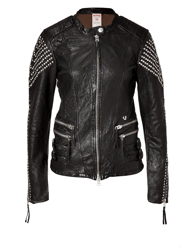 true religion leather biker studs jacket in black in black lyst. Black Bedroom Furniture Sets. Home Design Ideas