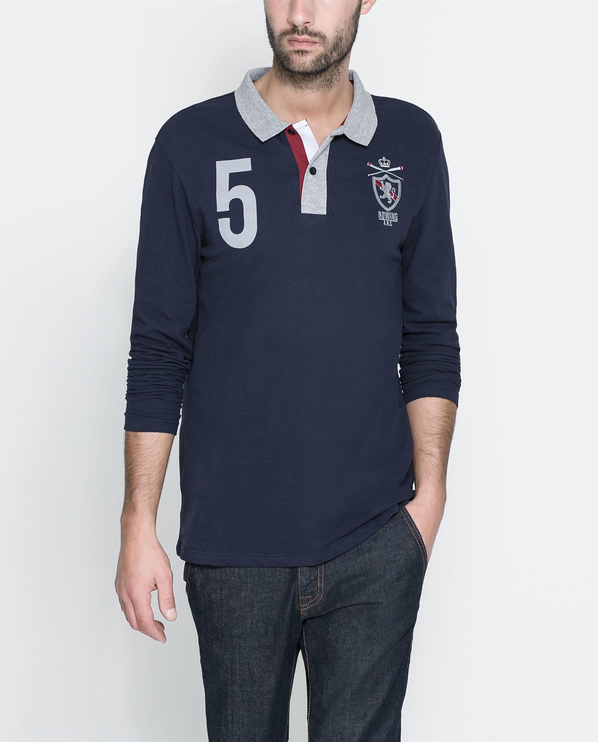 Zara Long Sleeve Polo Shirt In Blue For Men Navy Blue Lyst