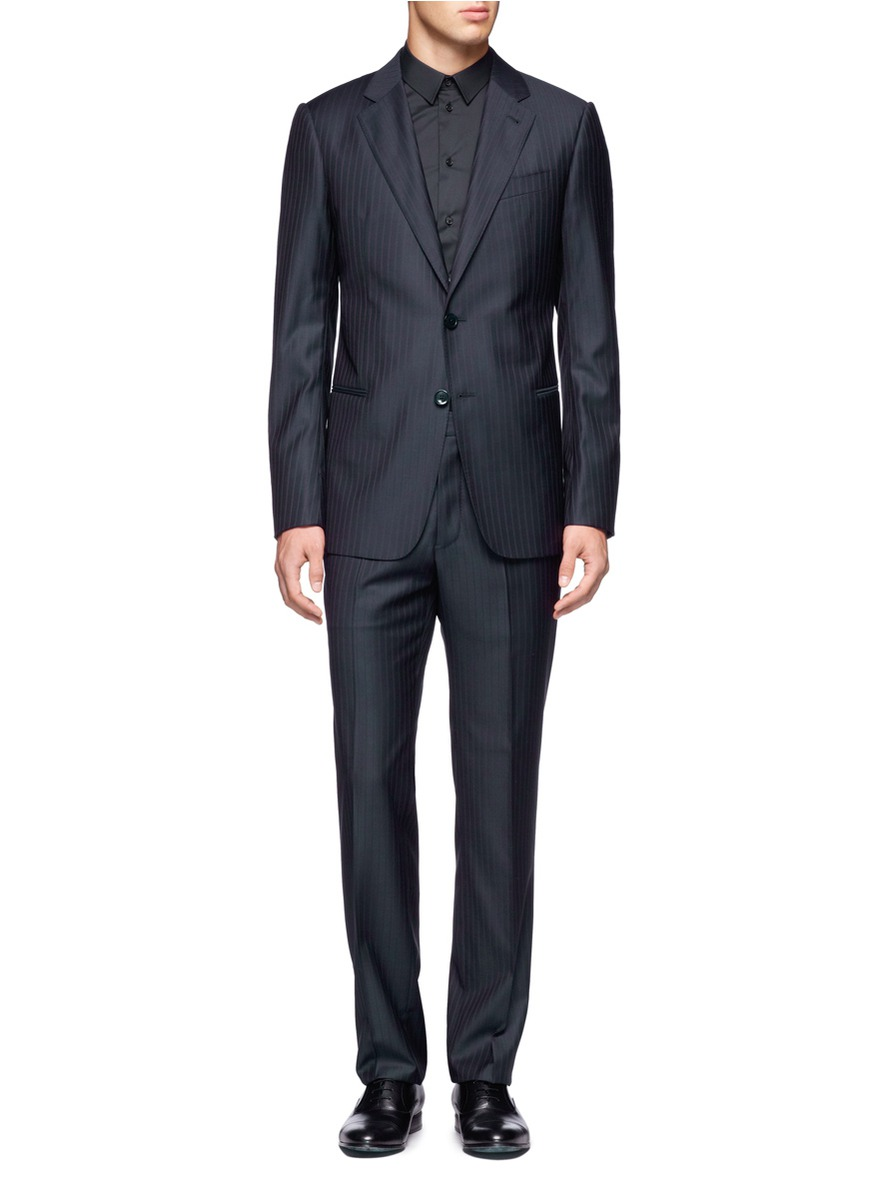 Armani Wool Pinstripe Twobutton Suit In Blue For Men Blue