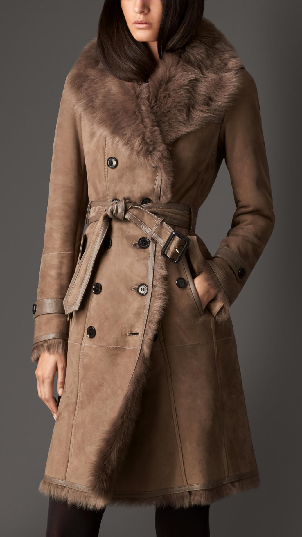 Burberry Long Shearling Trench Coat In Brown Lyst