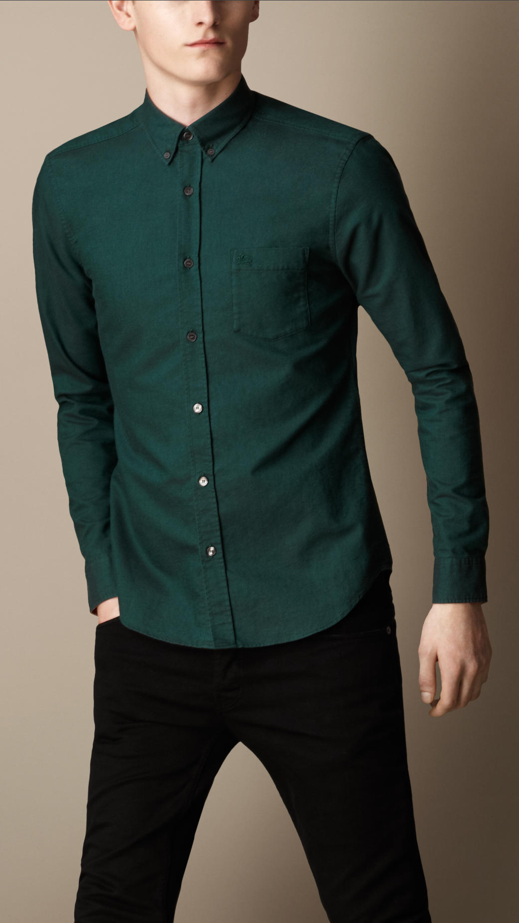 Burberry Buttondown Cotton Shirt in Green for Men | Lyst
