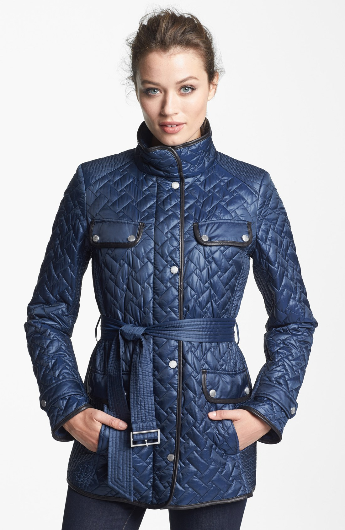Lyst Cole Haan Belted Leather Trim Quilted Jacket In Blue