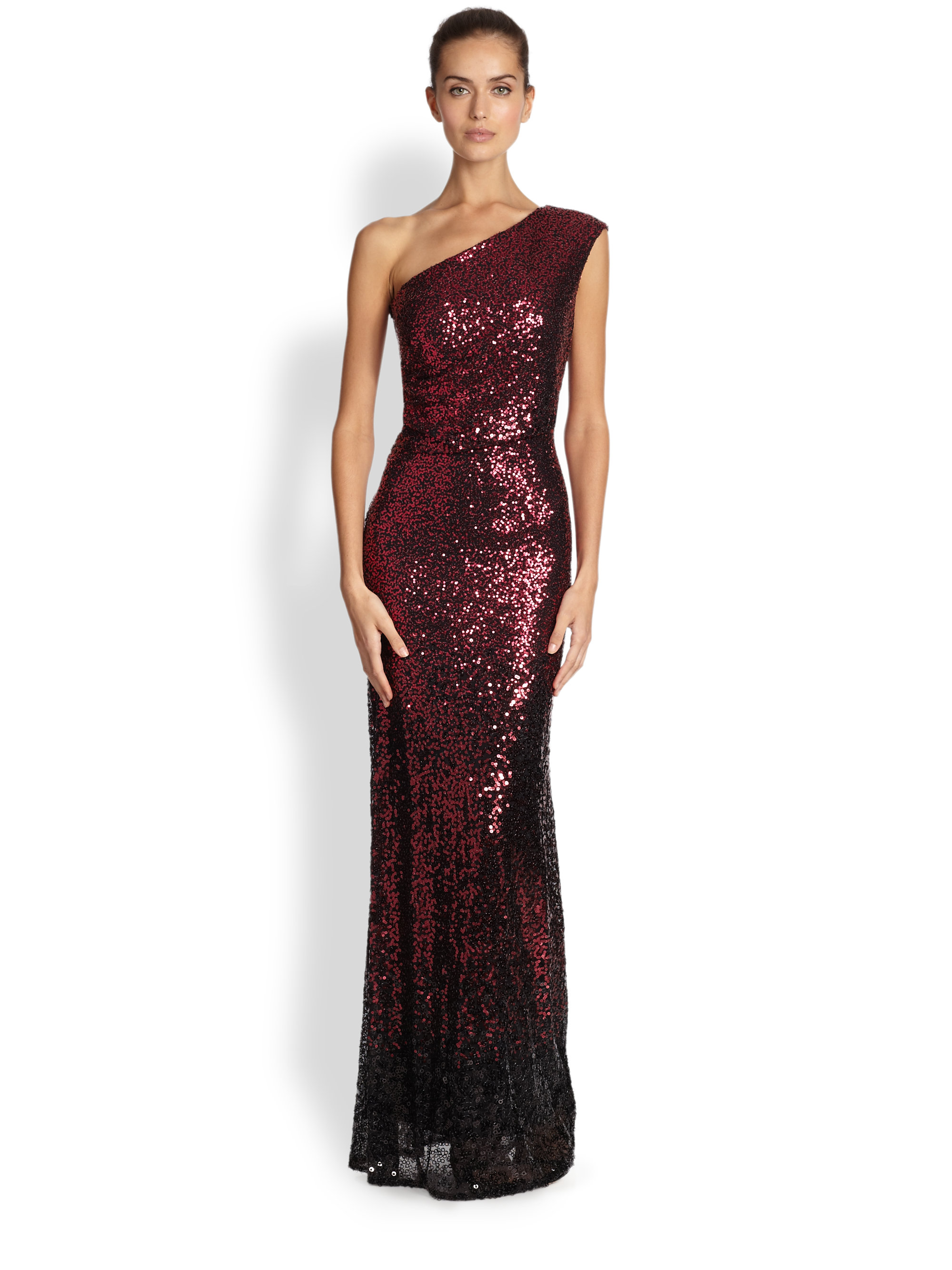 David meister Ombre Sequined Gown in Red | Lyst