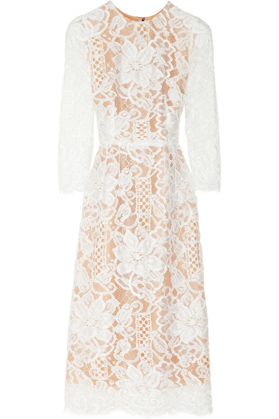 5dd43b40c2e Dolce   Gabbana Lace and Silk-organza Midi Dress in White - Lyst