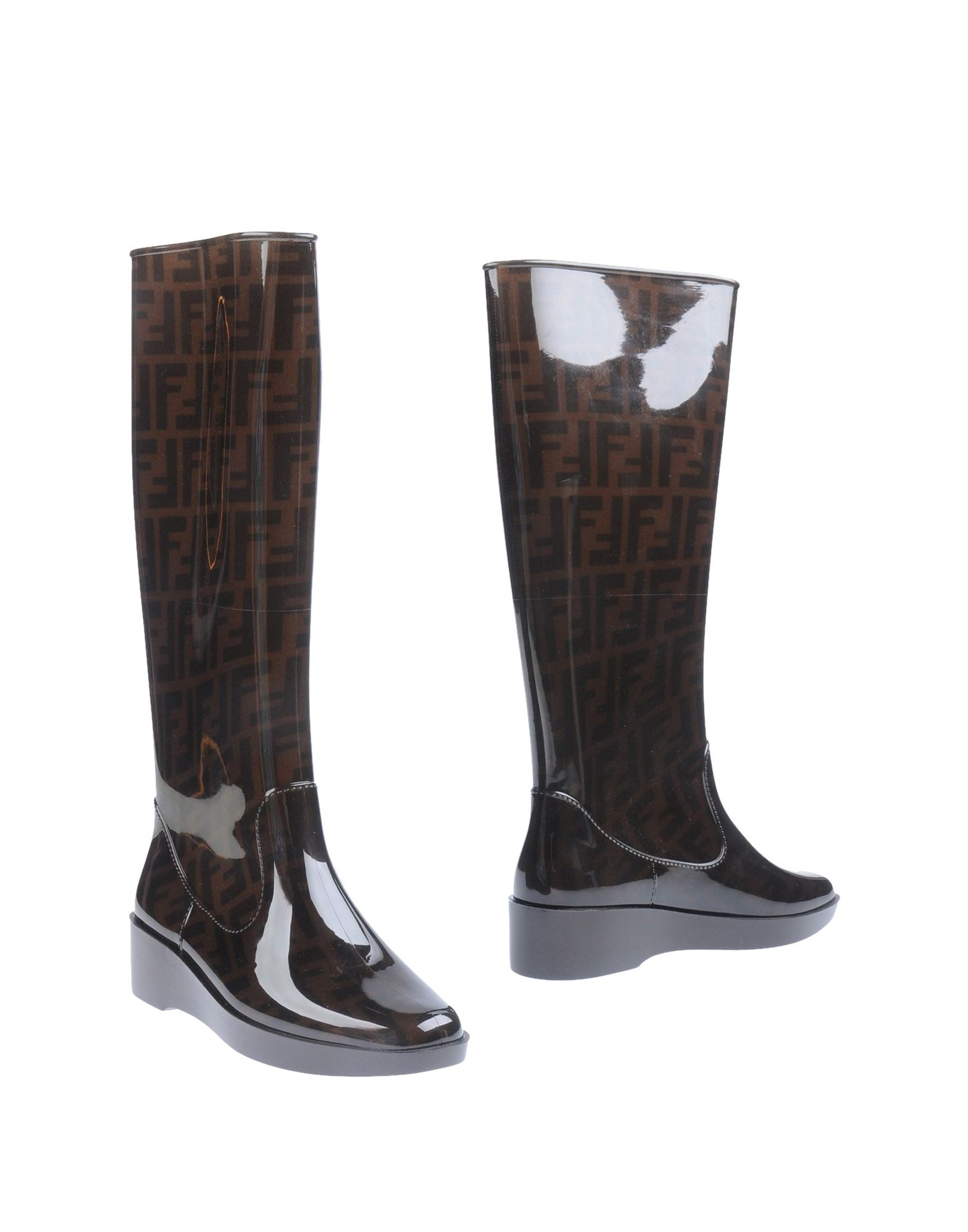 fendi logo detailed rubber wedge boots in brown lyst