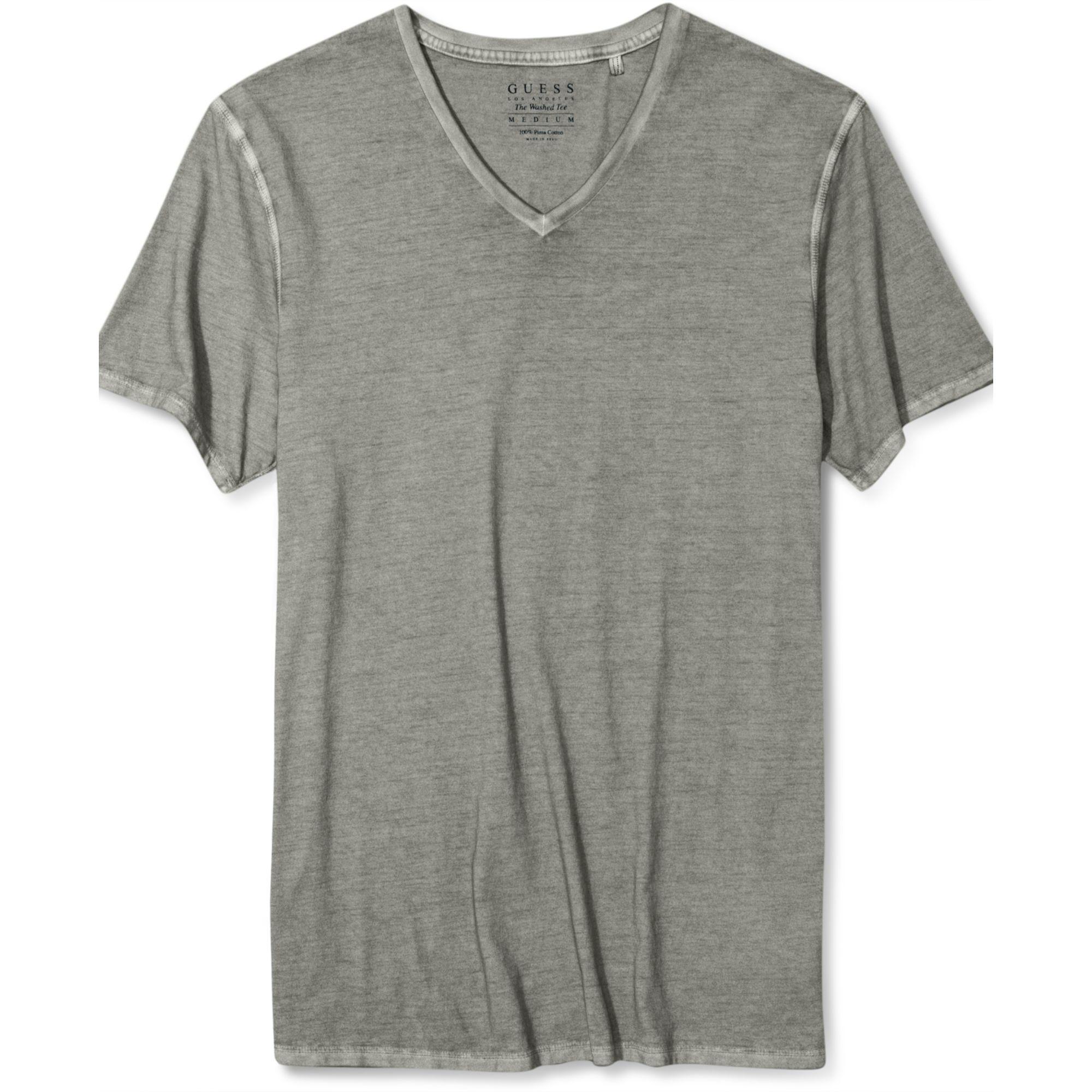 guess shirt gunnar vneck tshirt in gray for men lyst. Black Bedroom Furniture Sets. Home Design Ideas