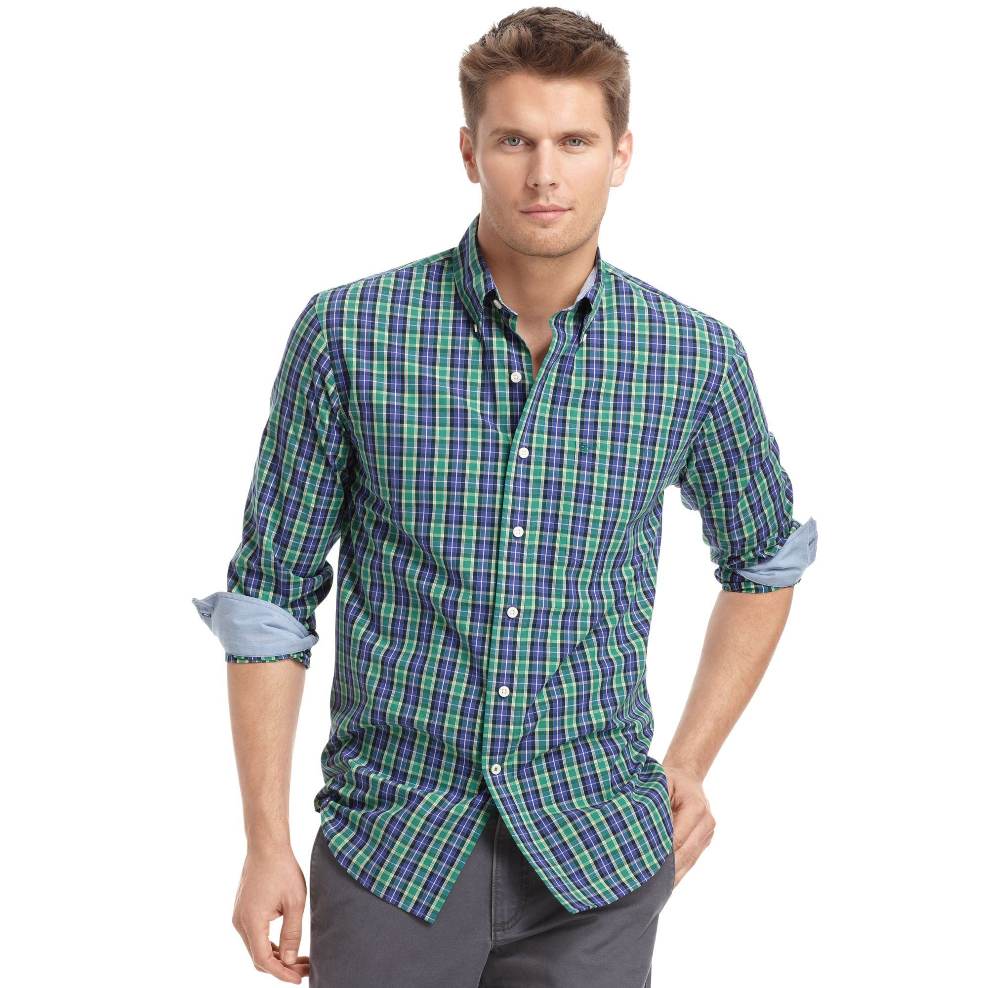 Izod izod big and tall shirt royal longsleeve tartan plaid for Izod big and tall shirts