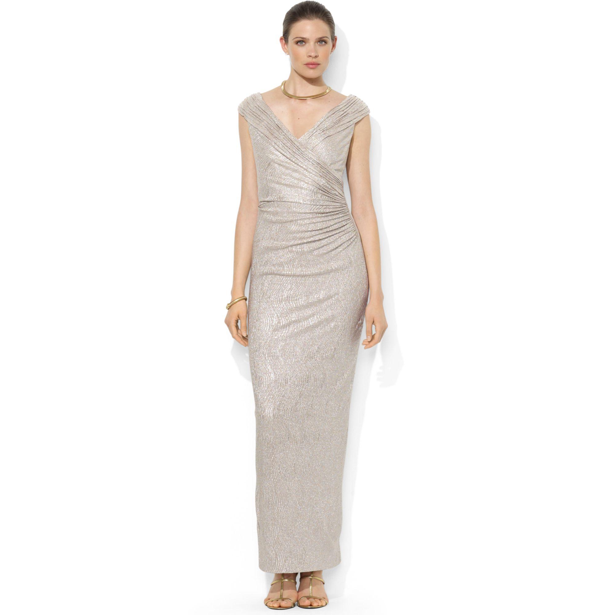 4d041b8c9883b Lyst - Lauren by Ralph Lauren Sleeveless Metallic Ruched Gown in ...