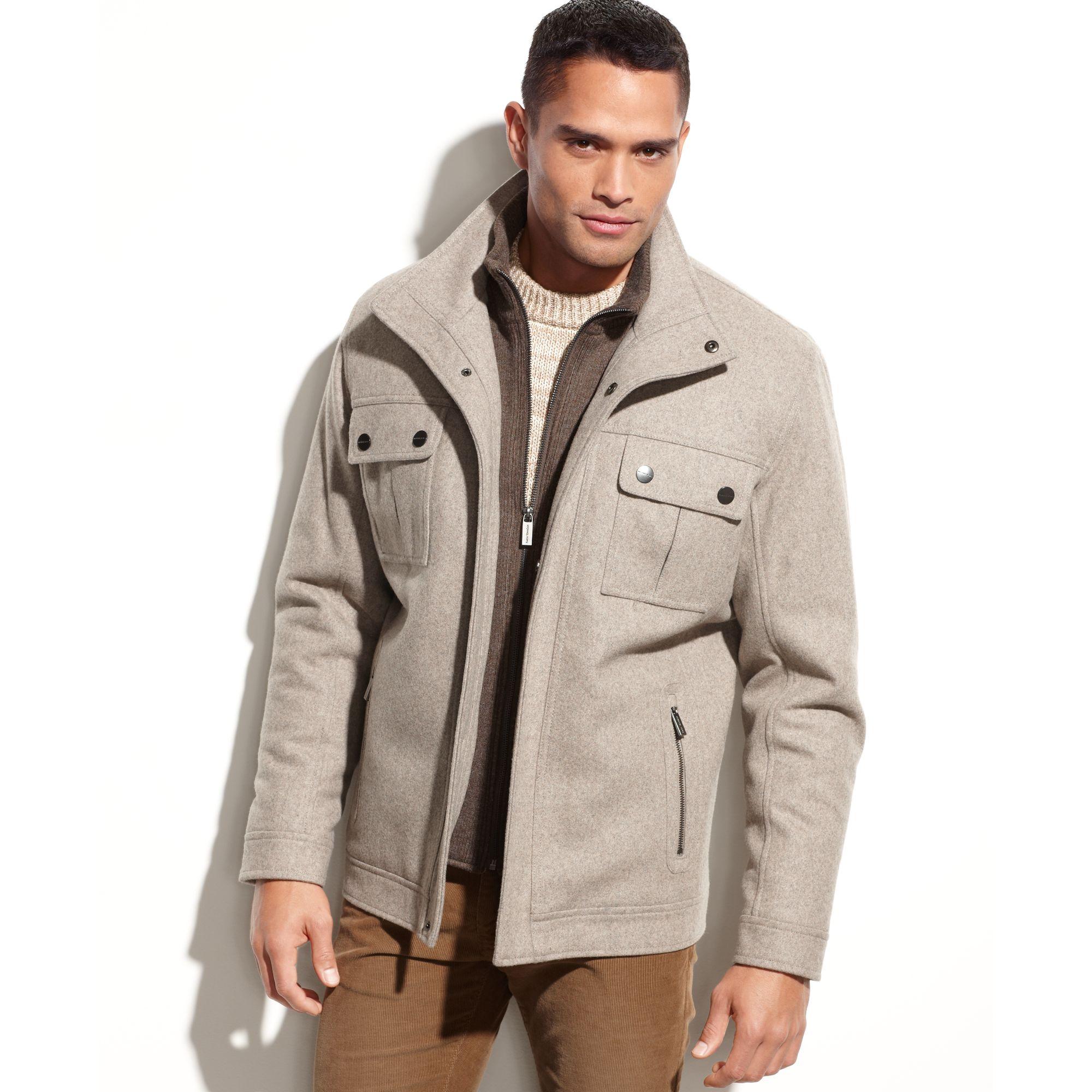 2154705201a8 Lyst - Michael Kors Alhambra Wool-blend Knit Bib Coat in Natural for Men