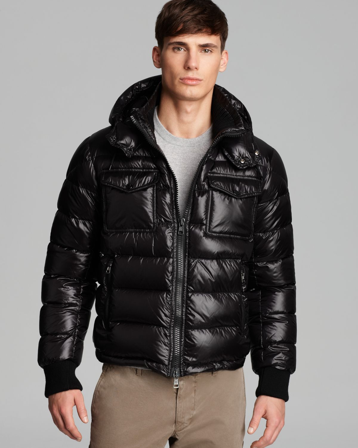 Moncler Fedor Shiny Quilted Down Coat In Black For Men Lyst