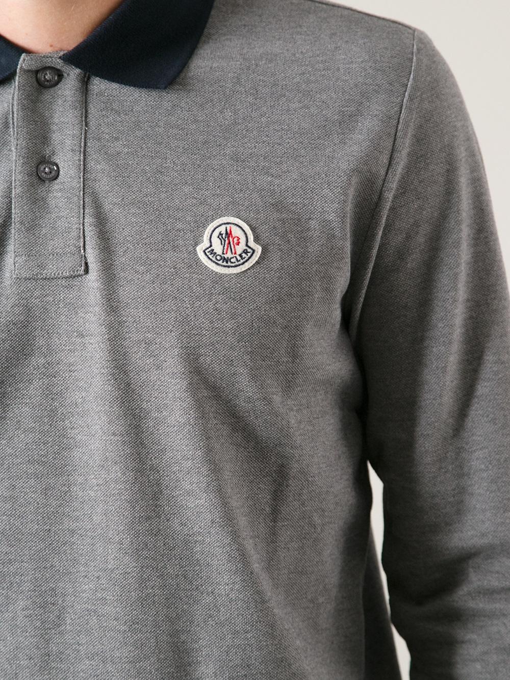 eba883f0769f Moncler Long Sleeve Polo Shirt in Gray for Men - Lyst