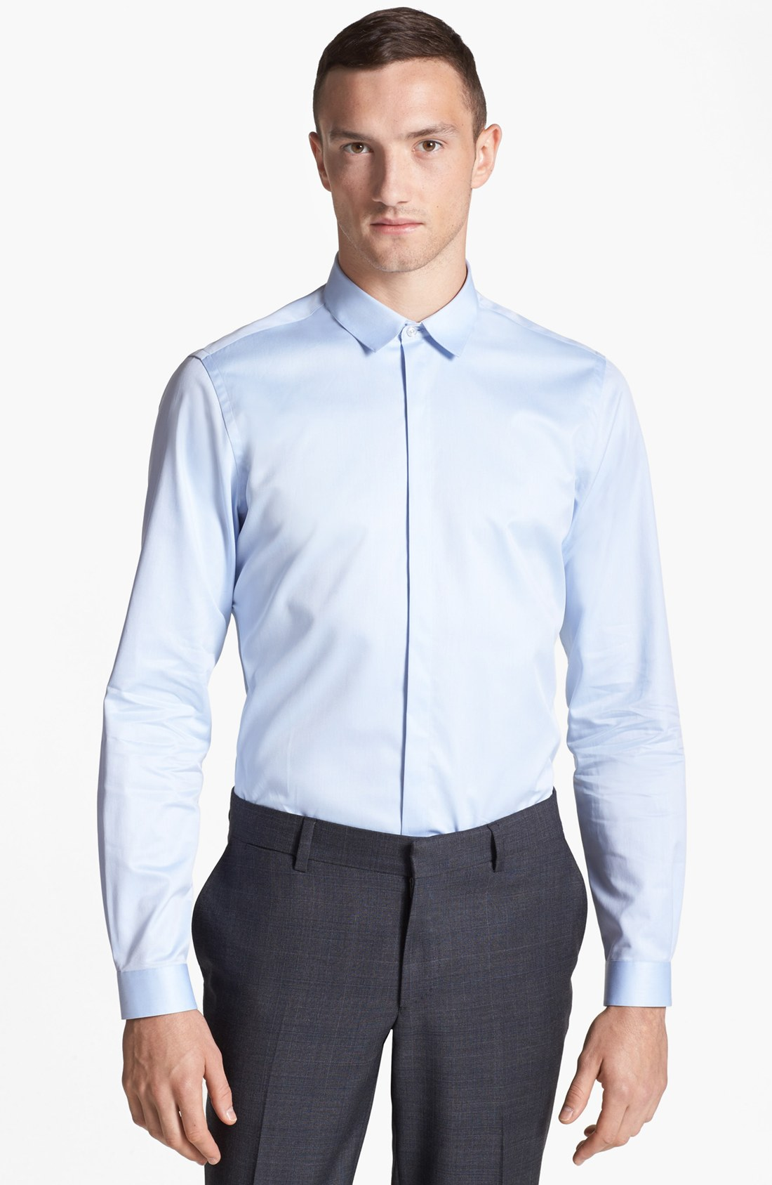 The Kooples Slim Fit Dress Shirt In Blue For Men Light