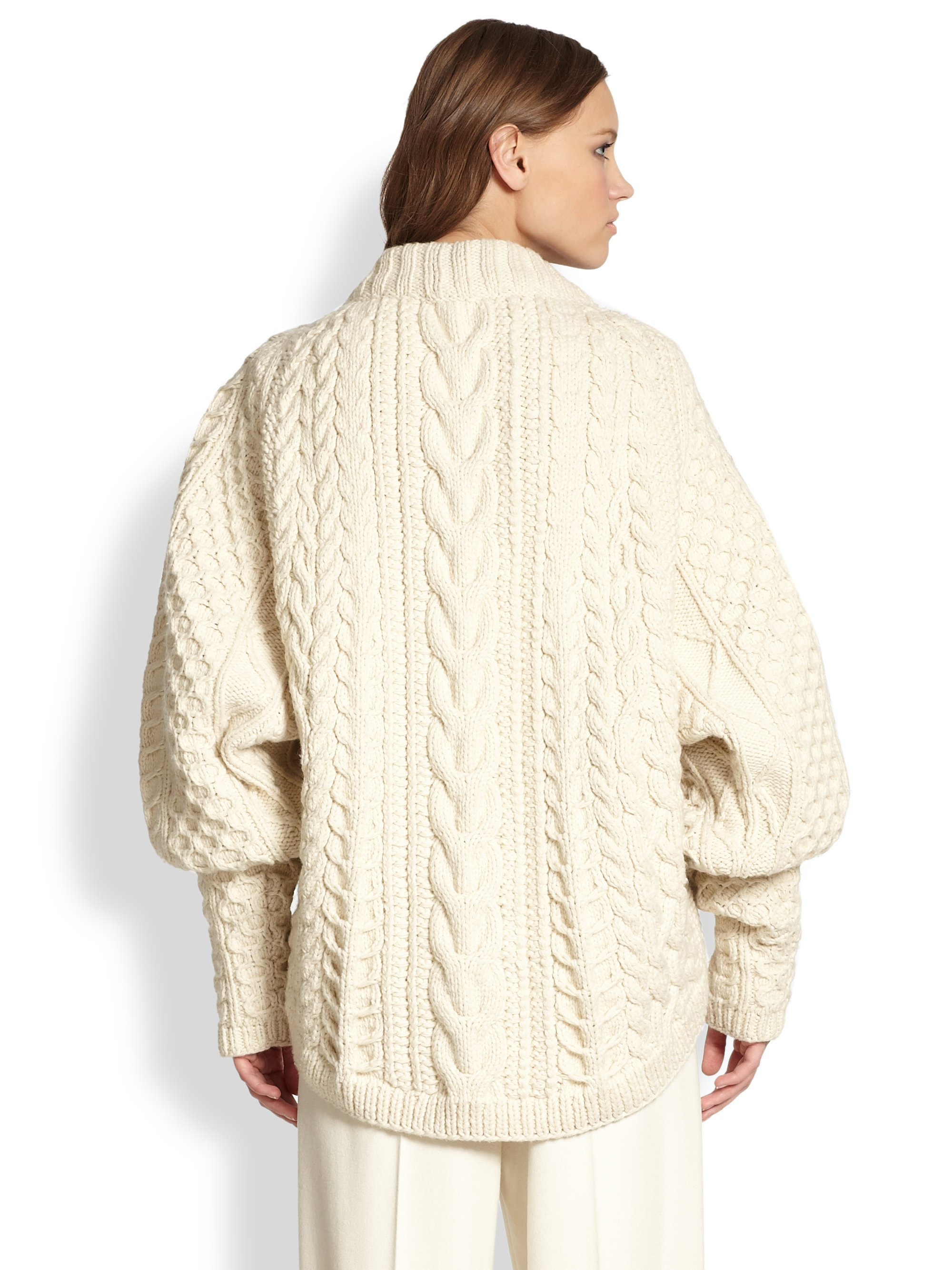 The row Wool Cashmere Cableknit Blouson Sweater in White | Lyst