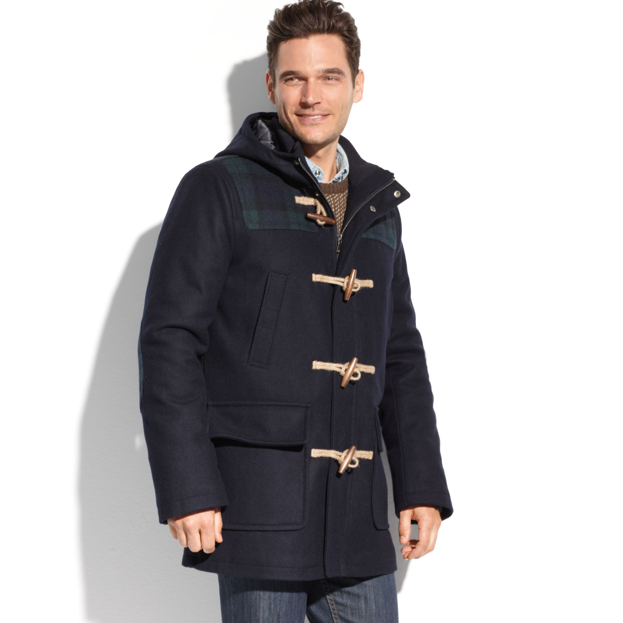 d906ba2c8f87 Lyst - Tommy Hilfiger Melton Wool Hooded Toggle Coat in Blue for Men