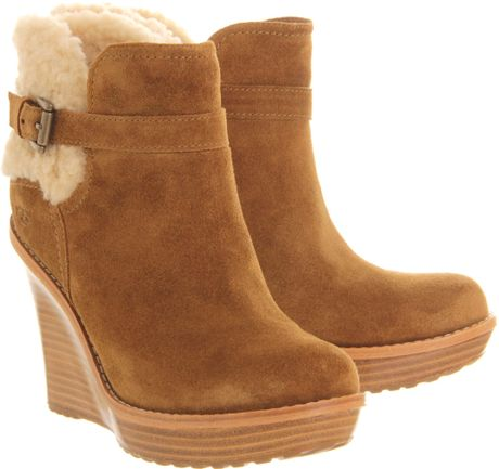 ugg anais wedge ankle boot in brown chestnut lyst