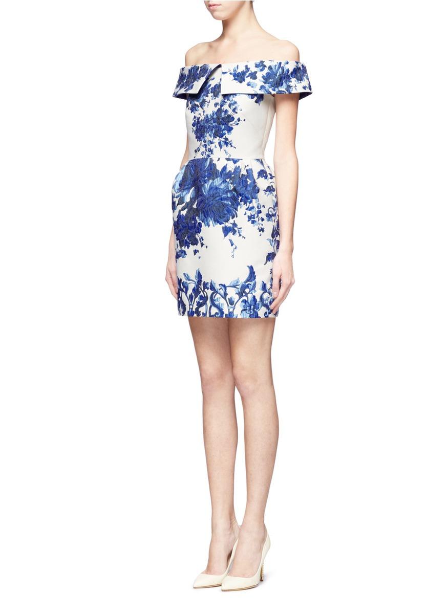 702cb07db5a Valentino Ceramic Floral Brocade Off-shoulder Dress in Blue - Lyst