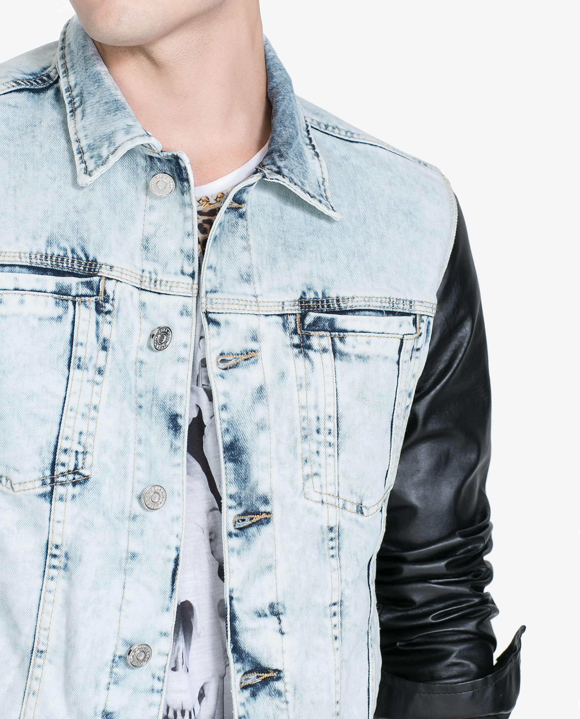 Denim jackets with leather sleeves