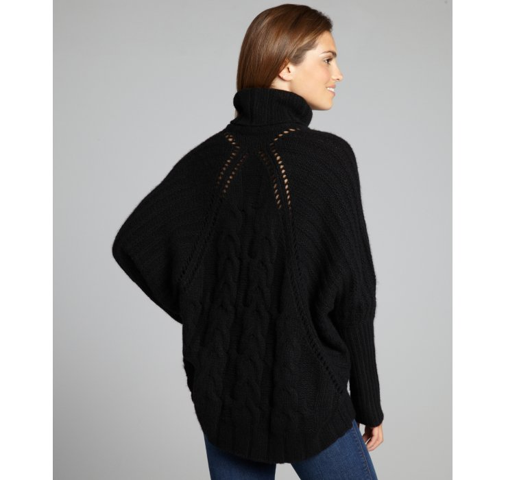 Autumn cashmere Black Cashmere Chunky Cable Knit Turtleneck in ...